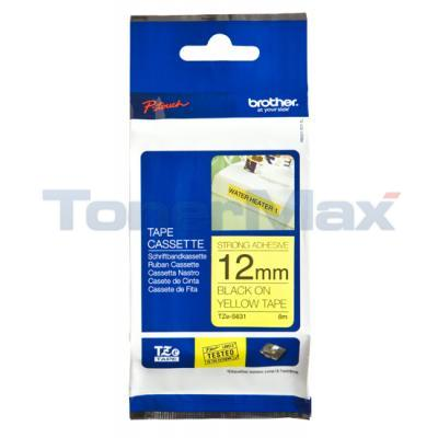 BROTHER TZ TAPE BLACK ON YELLOW 12 MM X 8 M